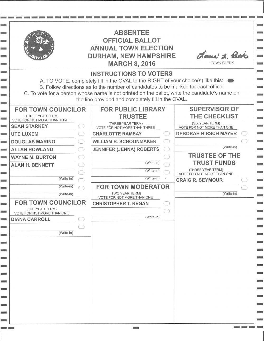 Absentee Official Ballot Annual Town Election, March 8, 2016 | The ...